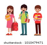 pupils boys and girls. vector... | Shutterstock .eps vector #1010479471
