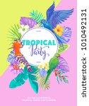tropical hawaiian party... | Shutterstock .eps vector #1010492131