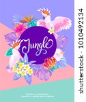 tropical hawaiian poster with... | Shutterstock .eps vector #1010492134