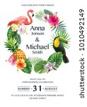 tropical hawaiian wedding... | Shutterstock .eps vector #1010492149