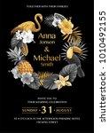 tropical hawaiian wedding... | Shutterstock .eps vector #1010492155
