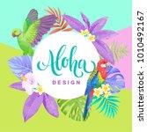 tropical hawaiian flyer with...   Shutterstock .eps vector #1010492167