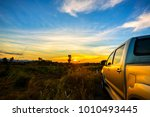 the pickup car parked in the... | Shutterstock . vector #1010493445