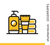 outline icon toiletries. hotel... | Shutterstock .eps vector #1010493991