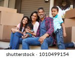 family with children outside... | Shutterstock . vector #1010499154