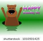 happy groundhog day  green... | Shutterstock . vector #1010501425