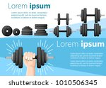 hand holding a dumbbell and set ... | Shutterstock .eps vector #1010506345