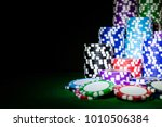 stack of poker chips on a green ... | Shutterstock . vector #1010506384