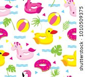 colorful summer pattern with... | Shutterstock .eps vector #1010509375