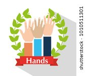 human hands raised multiethnic... | Shutterstock .eps vector #1010511301