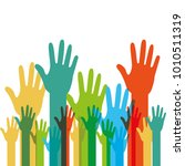 human hands raised with... | Shutterstock .eps vector #1010511319