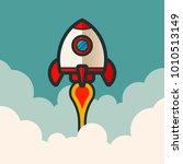 retro rocket space ship | Shutterstock .eps vector #1010513149