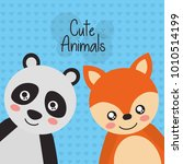 two cute animals panda and fox... | Shutterstock .eps vector #1010514199