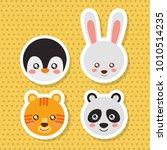set cute face animals wildlife... | Shutterstock .eps vector #1010514235