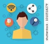 man internet wifi sharing email ... | Shutterstock .eps vector #1010518279