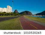 bicycle path in botafogo in rio ... | Shutterstock . vector #1010520265