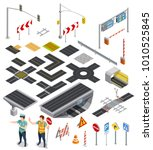 set of isometric icons showing ... | Shutterstock . vector #1010525845