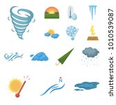 different weather cartoon icons ... | Shutterstock .eps vector #1010539087