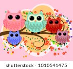 happy family of owls on... | Shutterstock .eps vector #1010541475