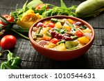 vegan curry dish   mixed... | Shutterstock . vector #1010544631