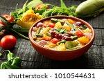 vegan curry dish   mixed... | Shutterstock . vector #1010544631