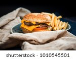 cheese burger   american cheese ... | Shutterstock . vector #1010545501