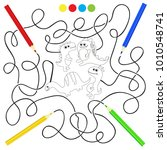 coloring book with dinosaurs... | Shutterstock .eps vector #1010548741