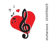 music key and heart. music... | Shutterstock .eps vector #1010550625