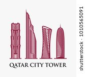 qatar city tower logo design... | Shutterstock .eps vector #1010565091
