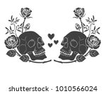 Black silhouette Human skull and roses tattoo. Couple skulls man and woman, love hearts and flowers.