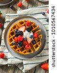 sweet homemade berry belgian...   Shutterstock . vector #1010567434