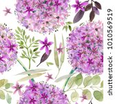watercolor violet flowers... | Shutterstock . vector #1010569519