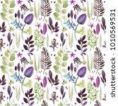 watercolor plant seamless... | Shutterstock . vector #1010569531