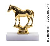 gold horse trophy isolated on a ...   Shutterstock . vector #1010583244