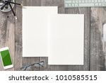 portrait magazines with blank... | Shutterstock . vector #1010585515