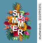 vector summer banner with... | Shutterstock .eps vector #1010593351