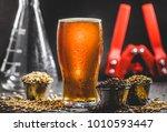 homebrew honey brown beer ...   Shutterstock . vector #1010593447