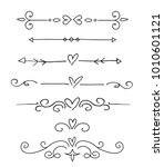 hand drawn floral dividers set | Shutterstock .eps vector #1010601121