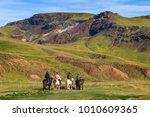 walking horseback riding | Shutterstock . vector #1010609365