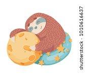 Cute Cartoon Sloth Hugs Moon...