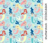 seamless pattern with cute... | Shutterstock .eps vector #1010616664