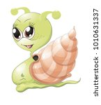 happy snail cartoon    Shutterstock .eps vector #1010631337