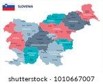 slovenia map and flag   high... | Shutterstock .eps vector #1010667007