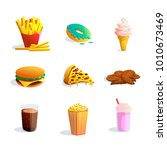 fastfood cartoon icons set with ... | Shutterstock . vector #1010673469