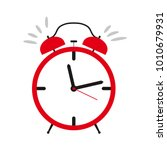 red ringing alarm clock. vector ... | Shutterstock .eps vector #1010679931