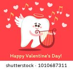 singing cartoon tooth in the... | Shutterstock .eps vector #1010687311
