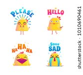 chicken composition stickers... | Shutterstock . vector #1010690461