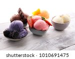 set of ice cream scoops of... | Shutterstock . vector #1010691475
