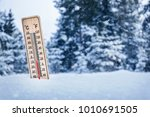thermometer in winter.... | Shutterstock . vector #1010691505