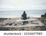 isolated nostalgic woman siting ...   Shutterstock . vector #1010697985